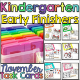Early Finisher Task Cards for Kindergarten - November