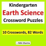 Kindergarten Earth Science, Crossword Puzzles, No Prep Sub Plan