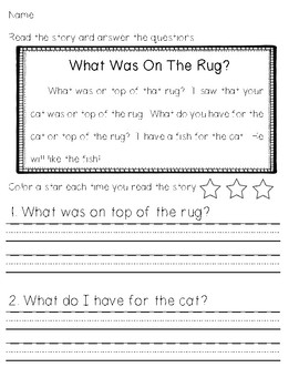 Kindergarten Easy Reader and Comprehension Questions FREEBIE