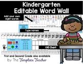 Kindergarten Editable Desktop Word Wall & Math Helper Name Tag
