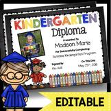 Kindergarten Diplomas - EDITABLE - Graduation - Chalkboard - Certificates