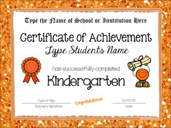 Kindergarten Editable Graduation Certificates - Glitter Borders
