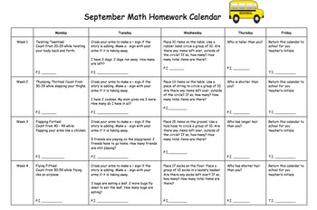Kindergarten Editable Math Homework calendar (Common Core Aligned)