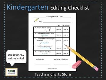 Kindergarten Editing Checklist for Writing Workshop