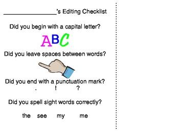 Kindergarten Editing Checklist for Writing