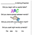 Kindergarten Editing Checklist for Writing