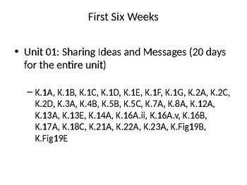 Kindergarten Elar Teks and Elps First Six Weeks