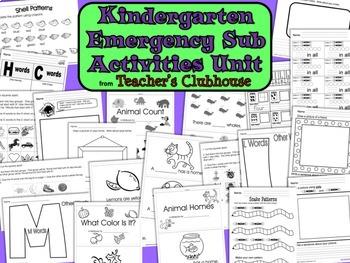 Kindergarten Emergency Sub Activities Unit