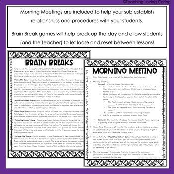 Kindergarten Emergency Sub Plans - WINTER EDITION- 3 FULL Days!