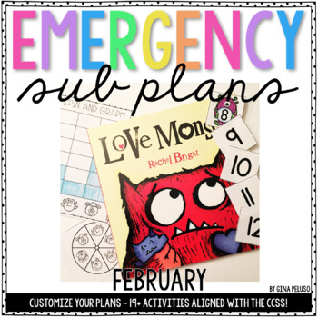 Kindergarten Emergency Sub Plans {February}
