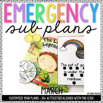 Kindergarten Emergency Sub Plans {March}