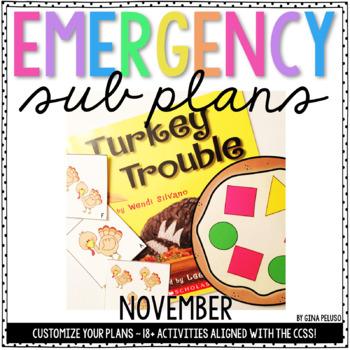 Kindergarten Emergency Sub Plans {November}