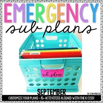 Kindergarten Emergency Sub Plans {September}
