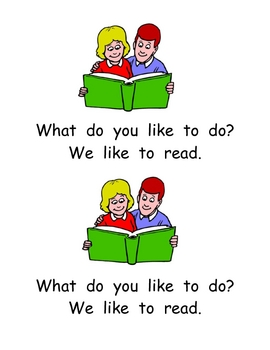 """Kindergarten Emergent Reader- """"What Do You Like to Do?"""""""