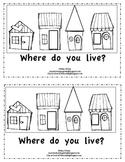 "Kindergarten Emergent Reader-""Where Do You Live?"""