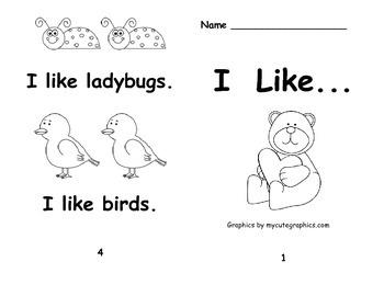 Kindergarten Emergent Readers Set AA:  Comic Sans Font