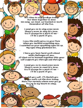 Kindergarten End of The Year Poem