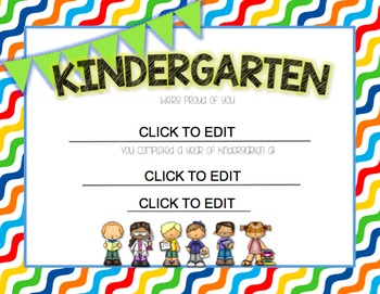 Kindergarten  End of Year {Editable} Certificates by Kinder League