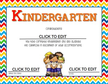 Kindergarten  End of Year {Editable} Certificates by Kinde