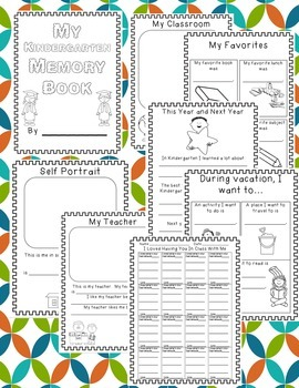 Kindergarten End of Year Memory Book and Activities