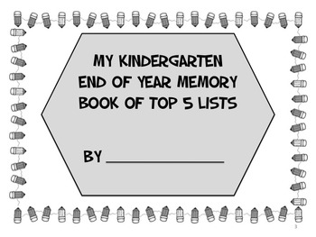 Kindergarten End of Year Memory Book of Top 5 Lists - PRINT and GO!