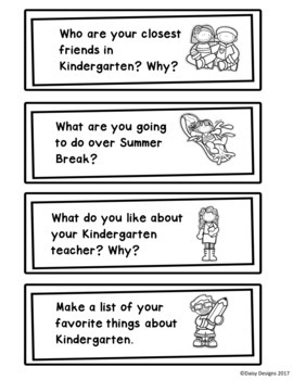 Kindergarten End of the Year Writing Prompt Task Cards