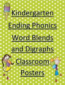 Kindergarten Ending Word Blends and Digraphs Classroom Posters