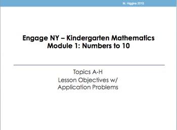 Kindergarten Engage NY Mathematics Module 1 Application Problems