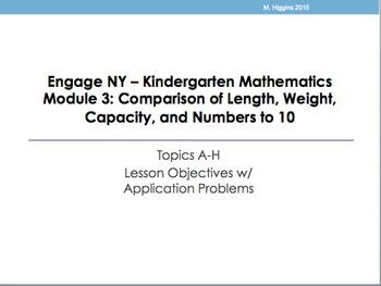 Kindergarten Engage NY Mathematics Module 3 Application Problems