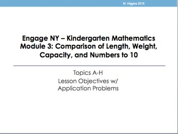 Kindergarten Engage NY Mathematics Module 3 Application Problems