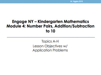 Kindergarten Engage NY Mathematics Module 4 Application Problems