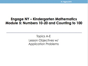 Kindergarten Engage NY Mathematics Module 5 Application Problems
