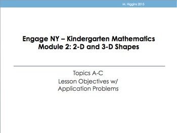 Kindergarten Engage NY Mathematics Module 2 Application Problems