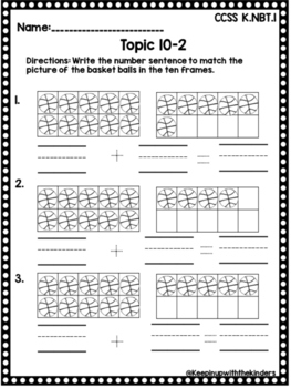 Kindergarten Envision Math Topic 10