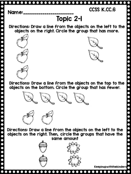 Kindergarten Envision Math Topic 2 Worksheets