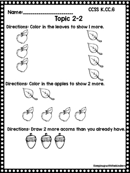 Kindergarten Envision Math Topic 2 Worksheets by Keepin up with ...
