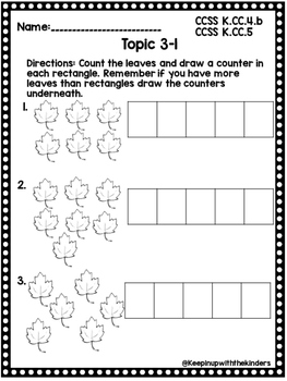 Kindergarten Envision Math Topic 3 Worksheets