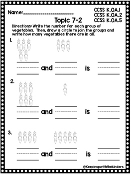 Kindergarten Envision Math Topic 7