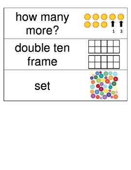 Kindergarten Envisions Math Vocabulary Cards Topic 10 and 11