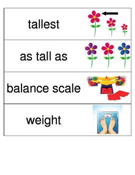 Kindergarten Envisions Math Vocabulary Cards Topic 12