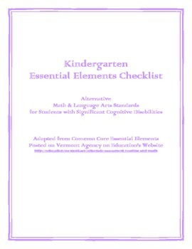 Kindergarten Essential Elements Checklist