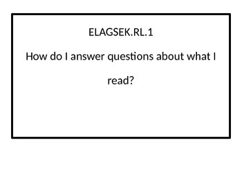 Kindergarten Essential Questions for ELA Georgia Standards of Excellence