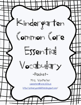 Kindergarten Essential Vocabulary (Common Core)