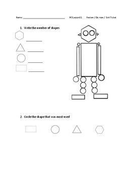 Kindergarten Eureka Math Module 3 Lessons 20-23 Exit Tickets