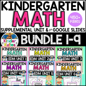 Kindergarten Everyday Math Supplemental Units 1-9 Worksheet & Vocabulary Bundle