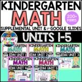 Kindergarten Everyday Math Unit 1-5  Worksheet & Vocabulary Bundle CCSS Aligned