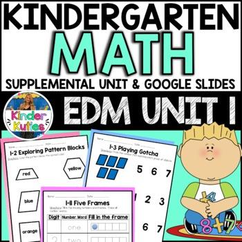 Kindergarten Everyday Math Unit 1 Worksheet & Vocabulary Bundle CCSS Aligned