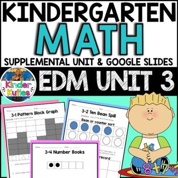 Kindergarten Everyday Math Unit 3 Worksheet & Vocabulary Bundle CCSS Aligned