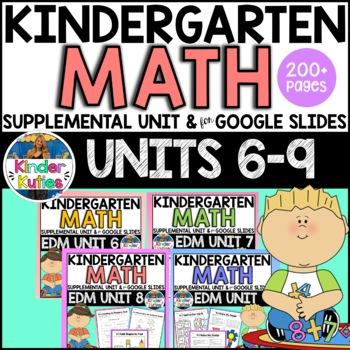 Kindergarten Everyday Math Unit 6-9  Worksheet & Vocabulary Bundle CCSS Aligned