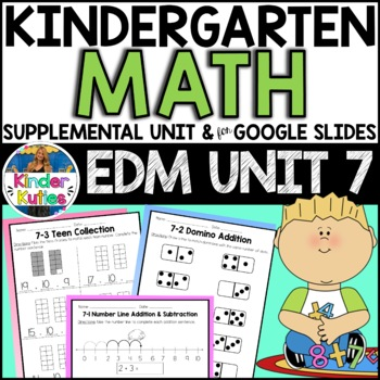 Kindergarten Everyday Math Unit 7 Worksheet & Vocabulary Bundle CCSS Aligned